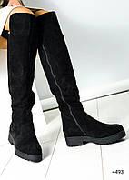 Ботфорты женские замшевые европейка черные, фото 1