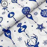 """Польская хлопковая ткань """"игрушки синие на белом"""""""