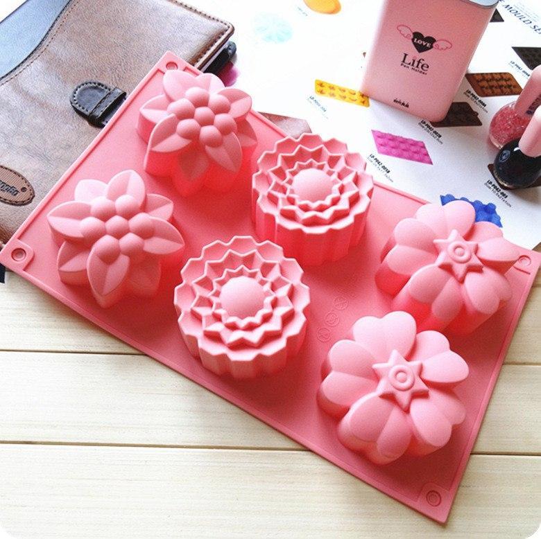 Силиконовая форма для кексов Ассорти Цветы