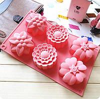 Силиконовая форма для кексов Ассорти Цветы, фото 1