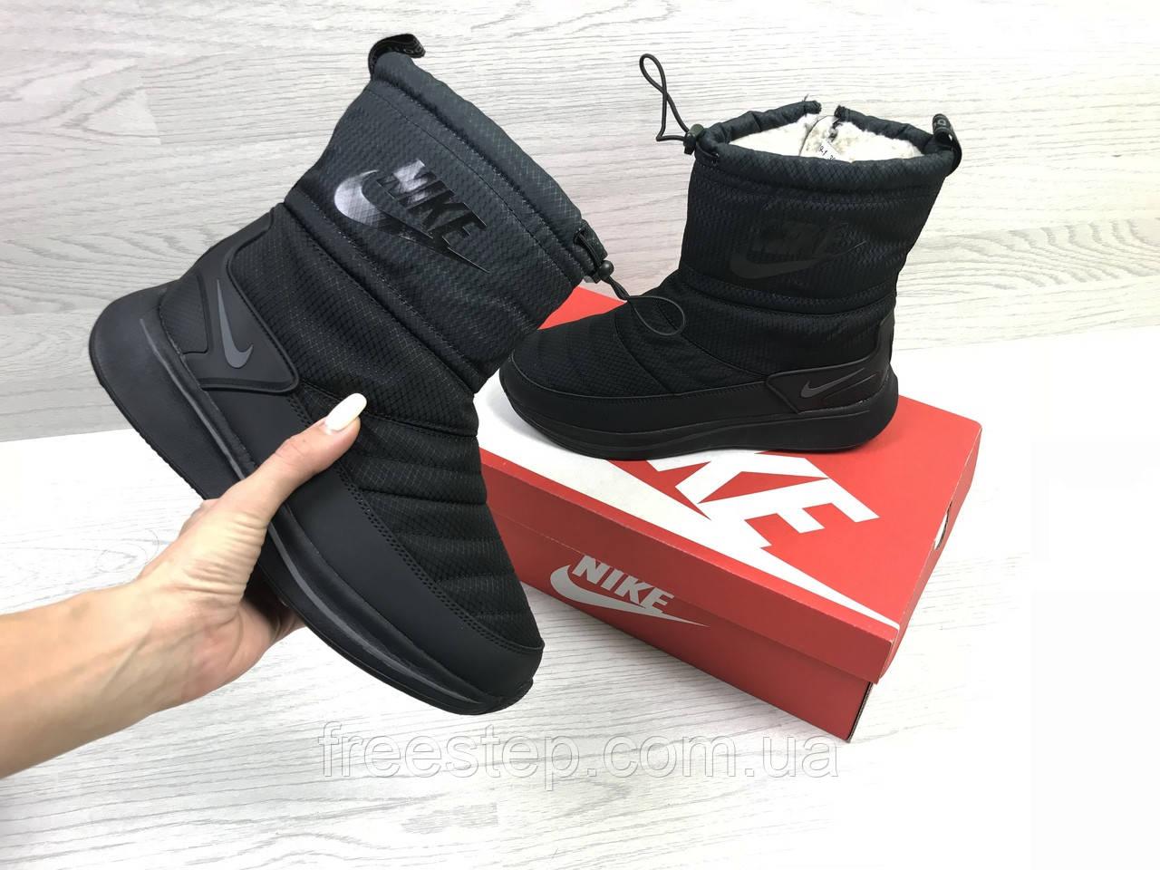 845071af3961 Зимние женские сапоги в стиле Nike Zoom, мех овчина, черные,  нубук термоплащевка