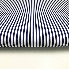 """Польская хлопковая ткань """"полоска синяя мелкая"""", фото 2"""