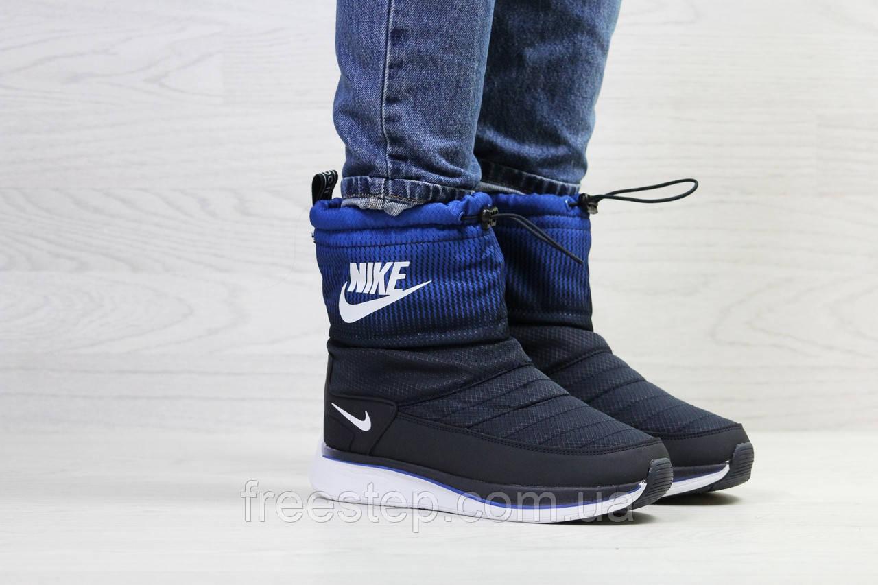adaa9a27 Зимние женские сапоги в стиле Nike Zoom, мех овчина, темно-синие, нубук