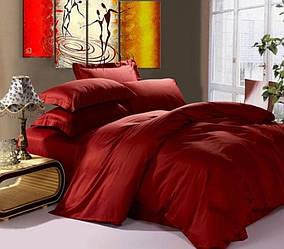 Комплект постільної білизни з сатину ЧЕРВОНЕ ВИНО / WINE RED Двоспальний