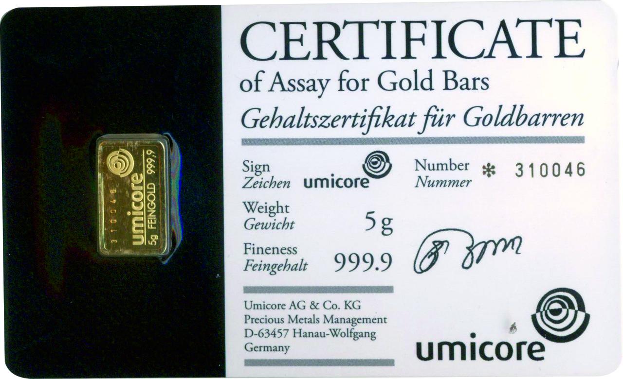 Слиток золота 5 грамм Umicore