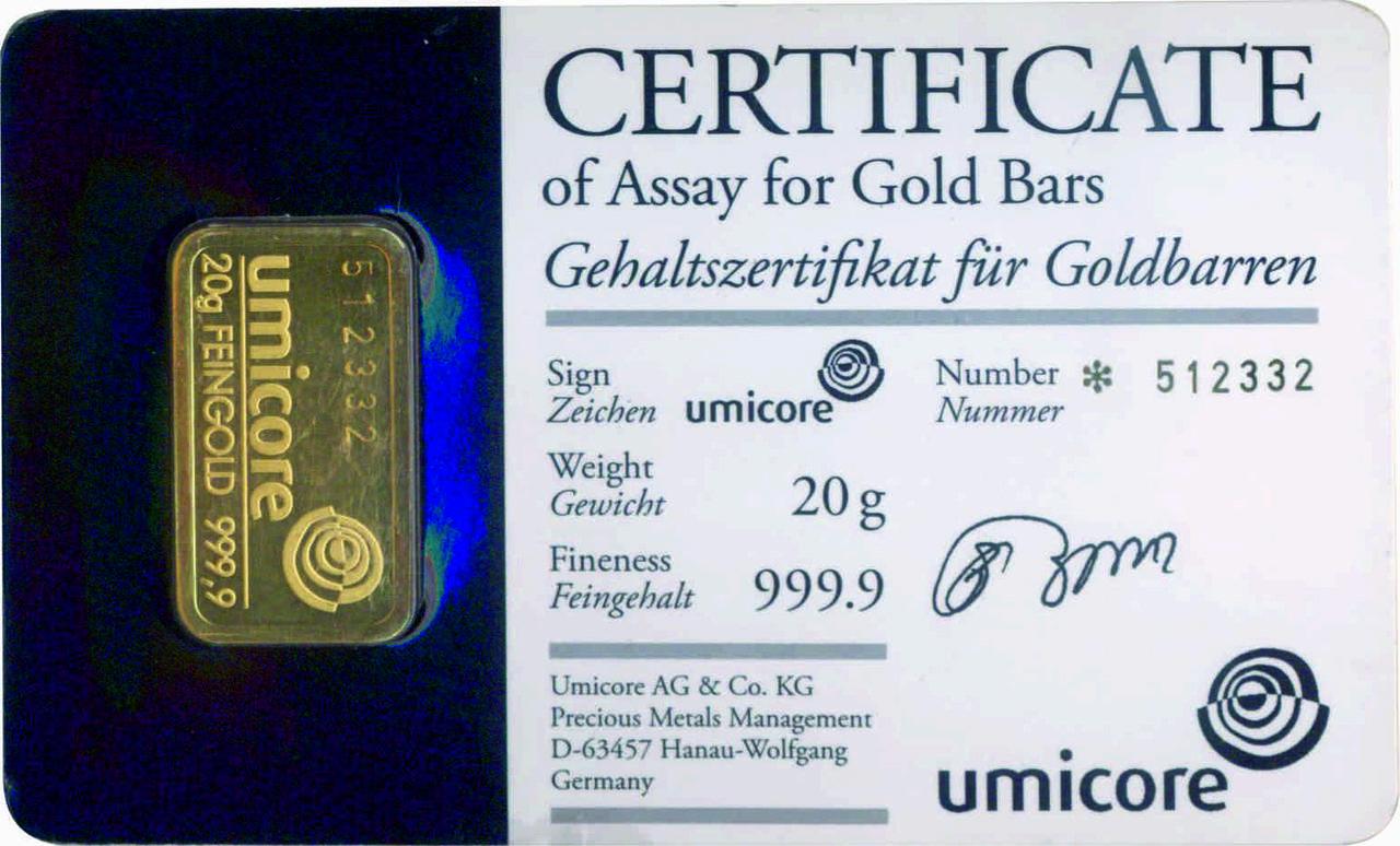 Слиток золота 20 грамм Umicore