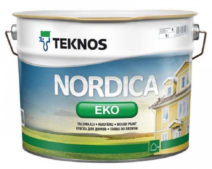 Краска акриловая TEKNOS NORDICA ECO для древесины (белая) 9 л