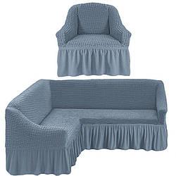 Натяжной чехол на угловой диван с креслом, Турция с оборкой