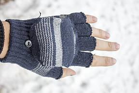 Вязаные перчатки без пальцев  синие, фото 2