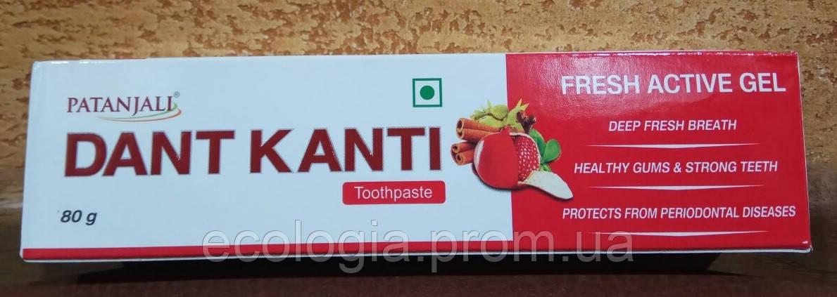 Зубная паста Dant Kanti Fresh Active Gel Patanjali - освежающая, профилактическая, натуральная, 80 гр Индия