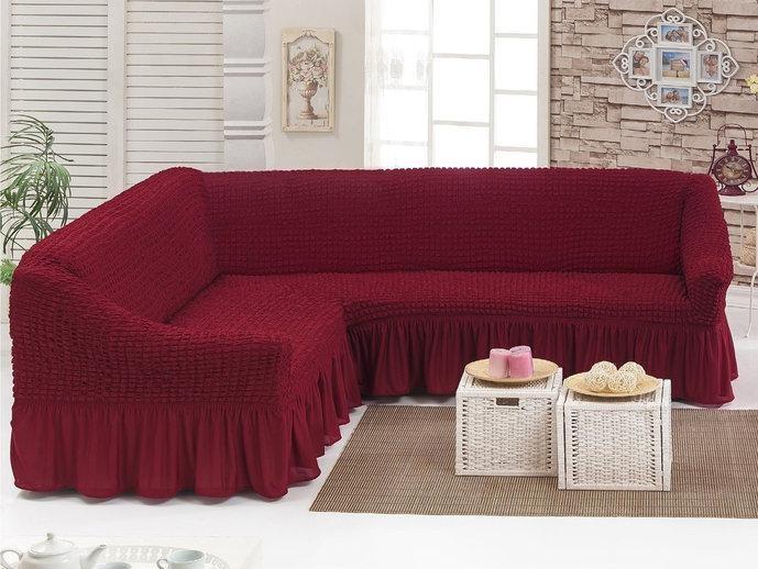 Натяжной чехол на угловой диван, Турция с оборкой.