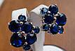 Серебряные серьги с золотой пластиной и синими камнями в стиле Картье, фото 5