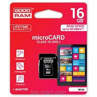 Карта памяті MicroSDHC 16GB class 10 (SD адаптер) GoodRam UHS-I, фото 1