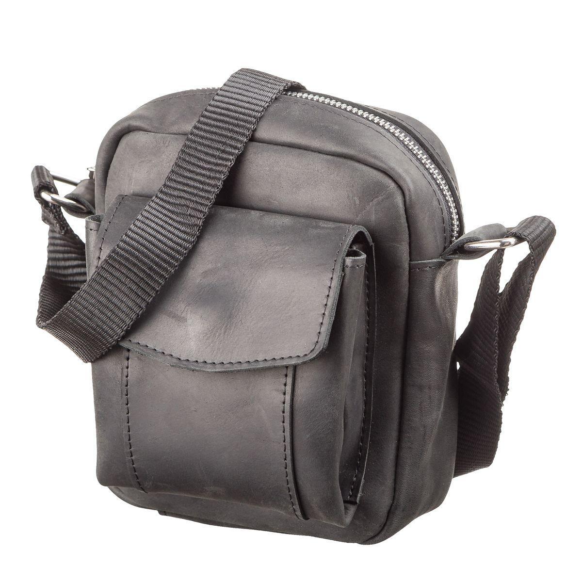 5ce50cdc3450 Мужская сумка через плечо SHVIGEL 11076 из винтажной кожи Черная  (Натуральная кожа) - .