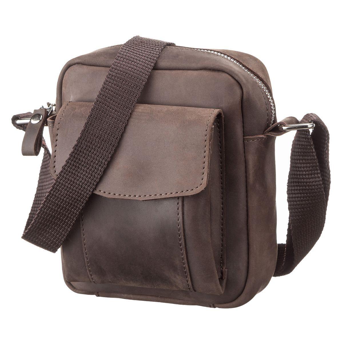 95f2321df974 Мужская сумка через плечо SHVIGEL 11077 из винтажной кожи Коричневая (Натуральная  кожа) - Онлайн