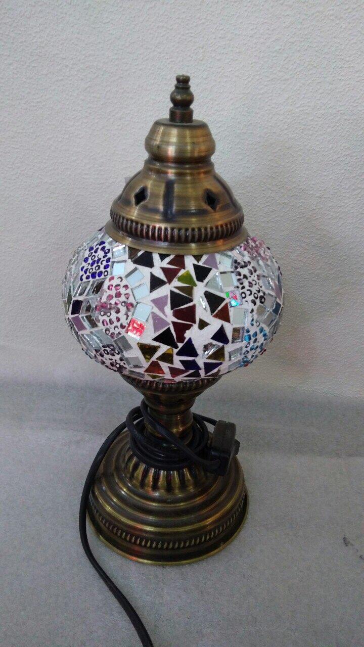 Настольный турецкий светильник Sinan из мозаики ручной работы разноцветный