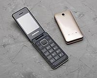 Телефон Раскладушка Samsung 390 золотой  большие цифры., фото 1