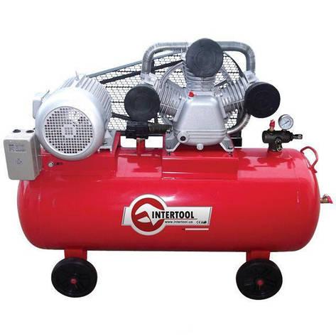 Компрессор 200л, 10HP, 7.5кВт, 380В, 8атм, 1050л/мин. 3цилиндра Intertool PT-0040, фото 2