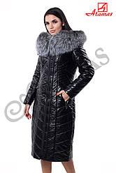 Длинное пальто из эко-кожи Черный