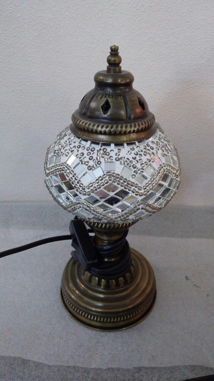 Настольный турецкий светильник Sinan из мозаики ручной работы белый 2