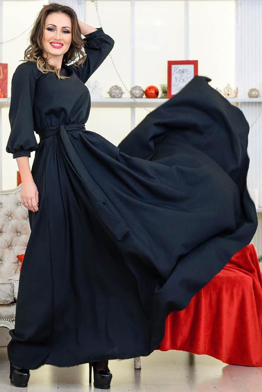 """Черное длинное платье с поясом  """"Ванесса"""""""