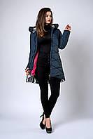 Зимняя женская молодежная куртка. Код К-136-36-19. Цвет темно синий с серебром.