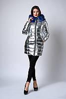 Зимняя женская молодежная куртка. Код К-141-63-19. Цвет серебро с синим мехом.