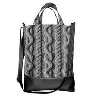 Городская сумка City Серый свитер черная 34х40х11 см (SCB_NG077_BL)