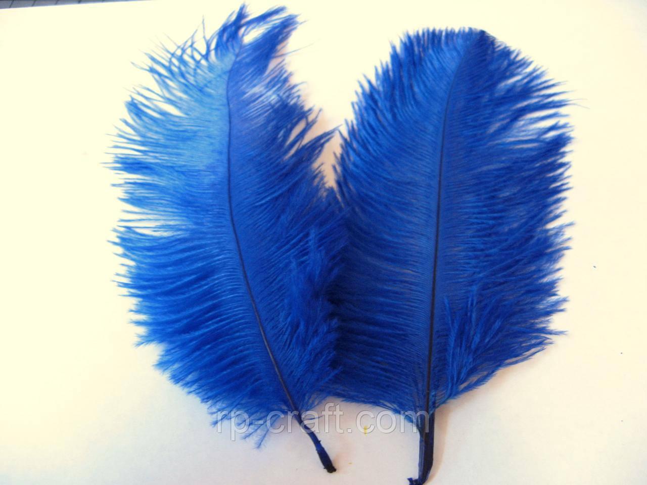 Перо страуса, от 13 до 23 см, синее
