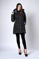 Зимняя женская молодежная куртка. Код К-136-36-19. Цвет черный с голубым.