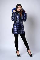 Зимняя женская молодежная куртка. Код К-141-63-19. Цвет синий металик с синим мехом.