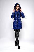 Зимняя женская молодежная куртка. Код К-139-71-19. Цвет синий.