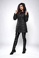 Зимняя женская молодежная куртка. Код К-139-36-19. Цвет черный.