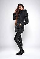 Зимняя женская молодежная куртка. Код К-138.82-37-19. Цвет черный.