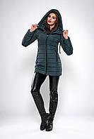 Зимняя женская молодежная куртка. Код К-138.82-37-19. Цвет темно зеленый.