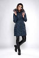 Зимняя женская молодежная куртка. Код К-132-36-19. Цвет темно синий.