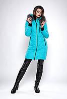 Зимняя женская молодежная куртка. Код К-132-36-19. Цвет бирюзовый.