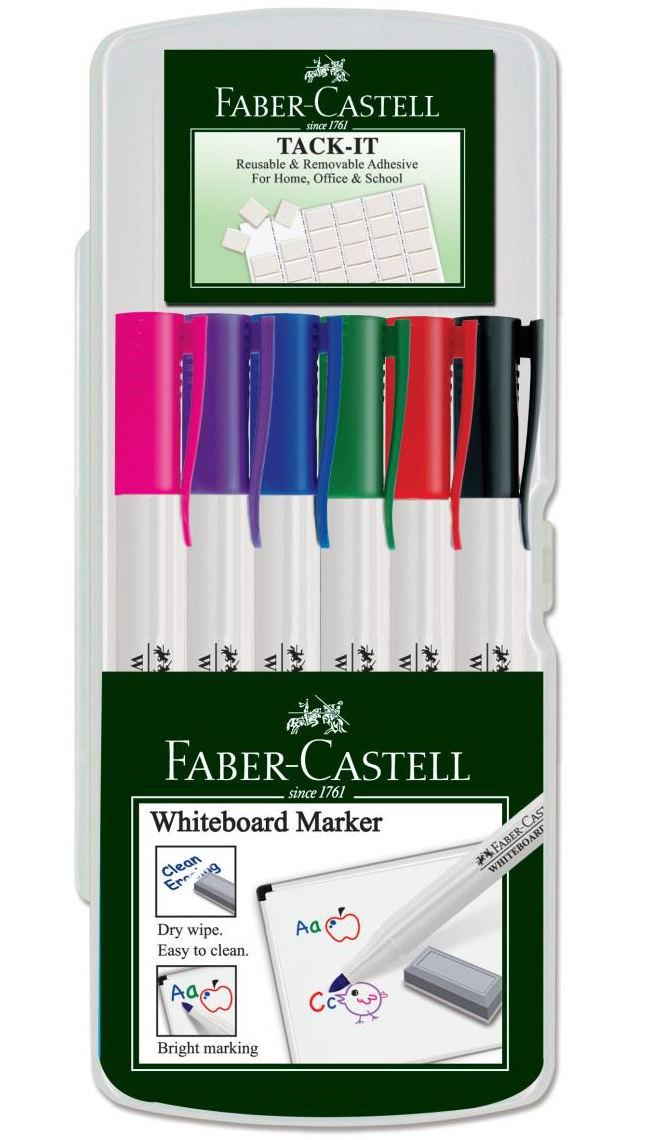 Набор перманентных маркеров Faber Castell SLIM + клей TACK IT 156077 (6 цв.)