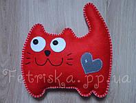 Мягкая игрушка - подушка из фетра Котик, 29см