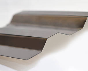 Градостойкий Профилированный монолитный поликарбонат ТМ Borrex 0.8мм 105х600см бронза