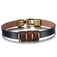 Шкіряний браслет з бронзовими вставками, фото 1