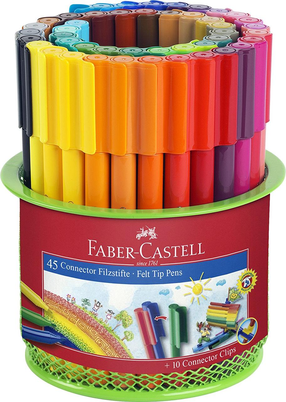 Фломастеры Faber Castell CONNECTOR 155545 в металлической банке (45 цв.)