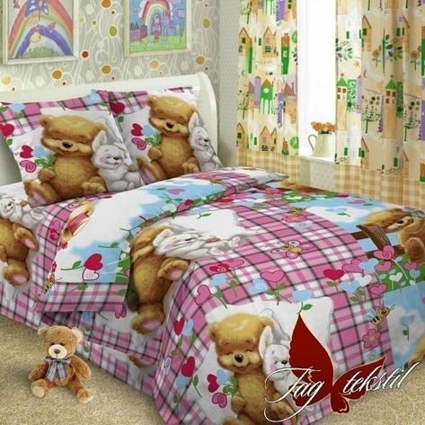 Детское постельное белье для девочек с мишкам розовое , фото 2