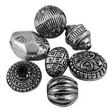 Бусины Акриловые Античные, Микс, Цвет: Античное Серебро, Размер: 12~22x12~16x12~16мм, Отверстие 2~3мм, около 10шт/25г, (УТ100005752)
