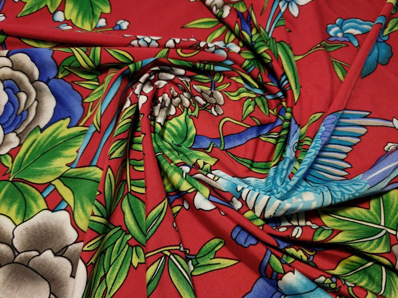 7f440a35b978 Трикотаж масло яркие цветы, красный - Атлас - сеть магазинов тканей в Одессе