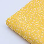 """Хлопковая ткань """"Микро цветочки"""" белые на жёлтом ( №1656а), фото 4"""