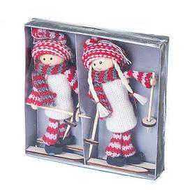 """Набор елочных игрушек (2 шт) """"Девчата-лыжницы"""" 15см"""
