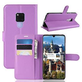 Чехол книжка для Huawei Mate 20 X боковой с отсеком для визиток, фиолетовый