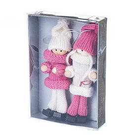 """Набор елочных игрушек """"Девчата"""" (2 шт) (розовые костюмы)"""