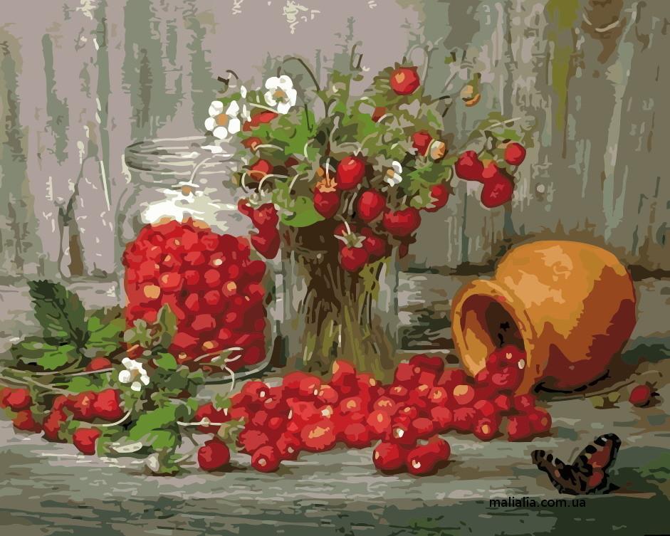 Картины по номерам 40*50 см В КОРОБКЕ Земляника Artstory